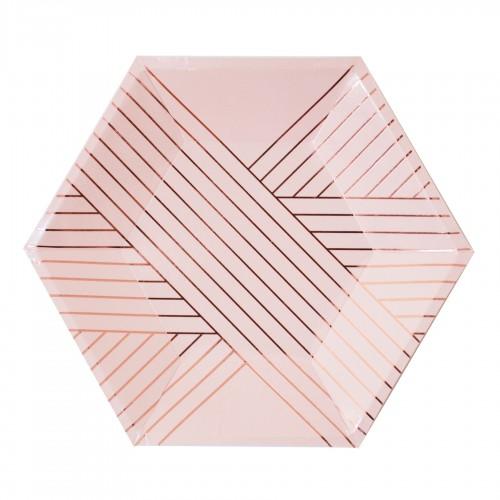 Χάρτινα Πιάτα Γλυκού Σε Ροζ Και Ροζ Χρυσό - Amethyst By Harlow & Grey