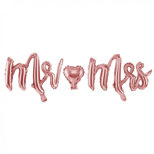 Μεταλλικό Ροζ Χρυσό Μπαλόνι Mr Mrs 69x125cm PartyDeco