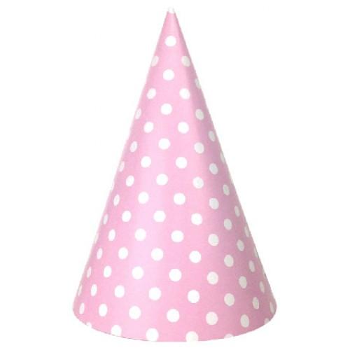 abcJoy ροζ πουά χάρτινα καπέλα (6-pack)