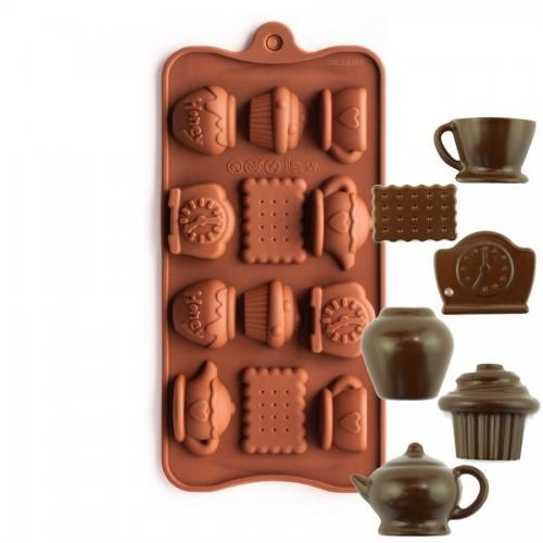 Φόρμα Σιλικόνης Για Σοκολάτα Πάρτυ Με Τσάι - Tea Time Silicone Chocolate Mold N.Y. Cake