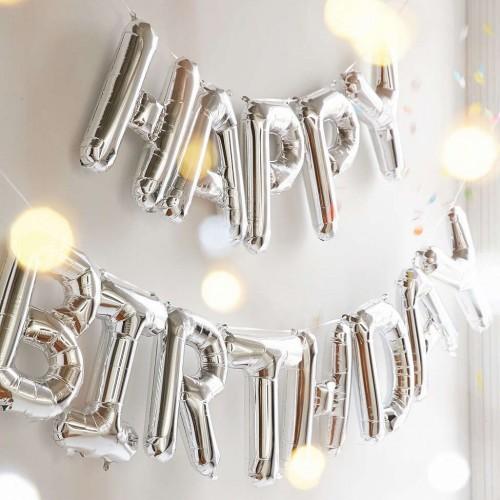 Μεταλλικά Ασημί Μπαλόνια-Happy Birthday-13 Μπαλόνια Και Κορδέλα