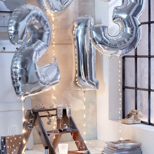 Μπαλόνια Ασημένια Foil Αριθμοί 34''-Unique-Επιλέξτε Αριθμό