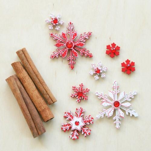 Χριστουγεννιάτικα Αυτοκόλλητα-Χιονονιφάδες Γιορτινές(8pcs)