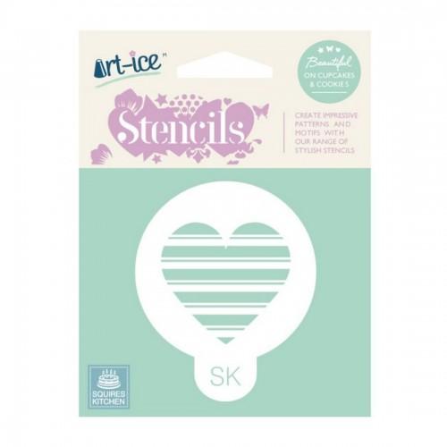 Heart Stencil-Στένσιλ Καρδιά Ριγέ-Squires Kitchen