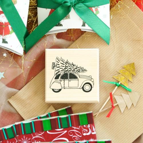 Σφραγίδα Ξύλινη Vintage Car With Christmas Tree