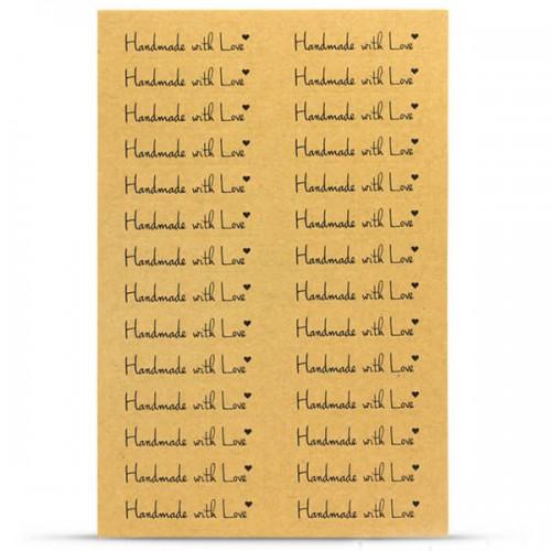 Κραφτ Αυτοκόλλητα Handmade With Love - 112pcs