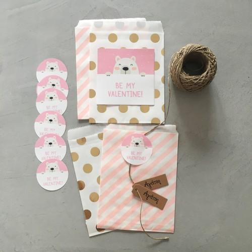 Αυτοκόλλητα Τετράγωνα για Συσκευασίες Valentine Stickers Pink Teddy Bear