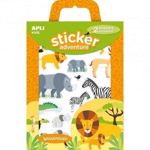 Παιδικά Αυτοκόλλητα Με Ζώα Σαβάνας - Stickers Adventure Savannah