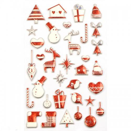 Χριστουγεννιάτικα Αυτοκόλλητα 3D Κόκκινα Για Συσκευασίες Και Δώρα