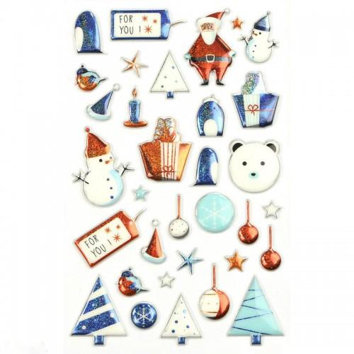 Χριστουγεννιάτικα Αυτοκόλλητα 3D Μπλε Για Συσκευασίες Και Δώρα
