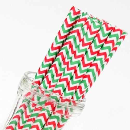 abcJoy Chevron Κόκκινα Πράσινα Χάρτινα Καλαμάκια (25-pack)