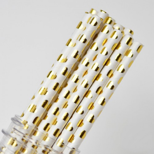 abcJoy χρυσές μεταλλικές καρδιές χάρτινα καλαμάκια (25-pack)