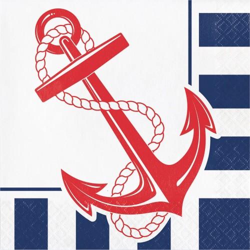 Χαρτοπετσέτες Φαγητού Ναυτικό Θέμα Άγκυρα Nautical Anchor 16pack