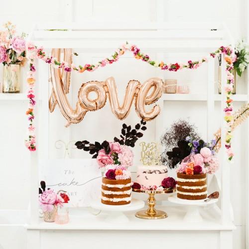 Μεταλλικό Ροζ-Χρυσό Μπαλόνι Love-Talking Tables