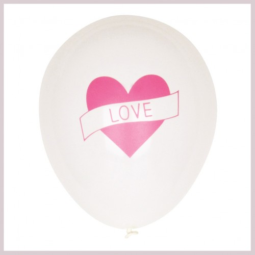 Μπαλόνι Με Ροζ Καρδιά-pink tattooed balloon(pack of 5)