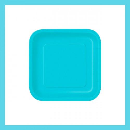 Τυρκουάζ Τετράγωνα Χάρτινα πιάτα (16-pack)-Unique