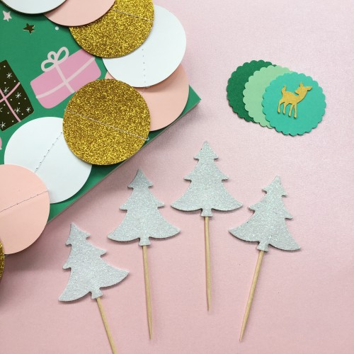 Cupcake Toppers Glitter Λευκά Έλατα-Hand Made By Ministry Of Art 6pcs