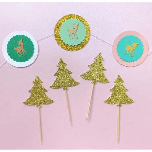 Cupcake Toppers Glitter Sparkle Χρυσά Έλατα-Hand Made By Ministry Of Art 6pcs