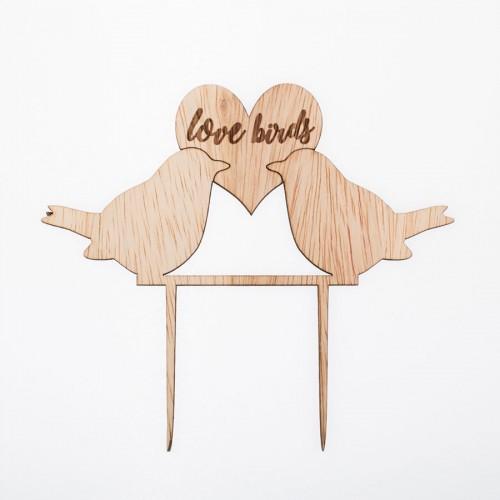 Wedding Cake Topper Love Birds-Ερωτευμένα Πουλιά Διακοσμητικό Τούρτας Για Γάμο