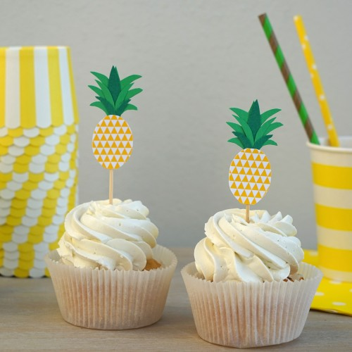 Cupcake Toppers Ανανάς Hand Made by Ministry Of Art (6pcs)