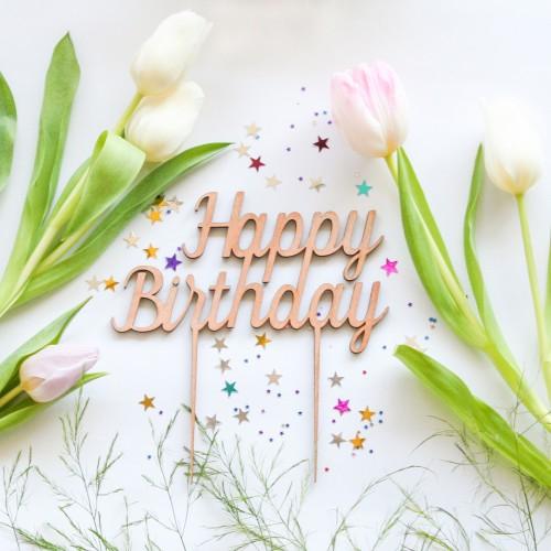 Cake Topper Happy Birthday-Διακοσμητικό Τούρτας