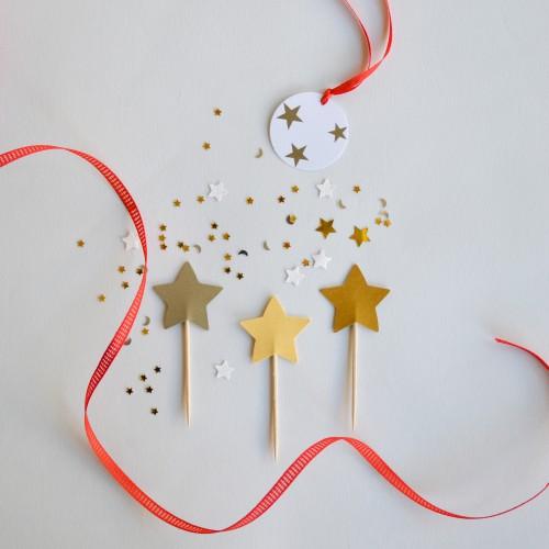 Cupcake Toppers-Αστέρια Σε Χρυσές Ανταύγειες Διπλής Όψης-Hand Made by Ministry Of Art (6pcs)