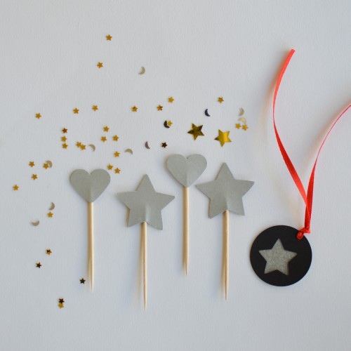 Cupcake Toppers-Ασημένια Αστέρια Και Καρδιές Διπλής Όψης-Hand Made by Ministry Of Art (6pcs)