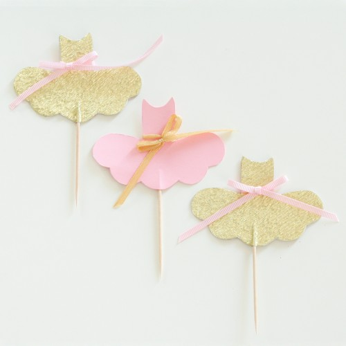 Cupcake Toppers-Ροζ Και Χρυσές Μπαλαρίνες-Hand Made by Ministry Of Art (6pcs)