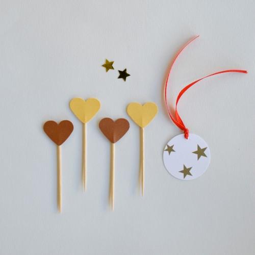 Cupcake Toppers-Χρυσές Και Μπρονζέ  Καρδιές Διπλής Όψης-Hand Made by Ministry Of Art (6pcs)