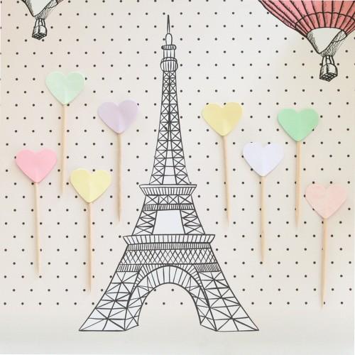 Cupcake Toppers-Καρδιές Διπλής Όψης Σε Παλ Χρώματα-Hand Made by Ministry Of Art (10pcs)