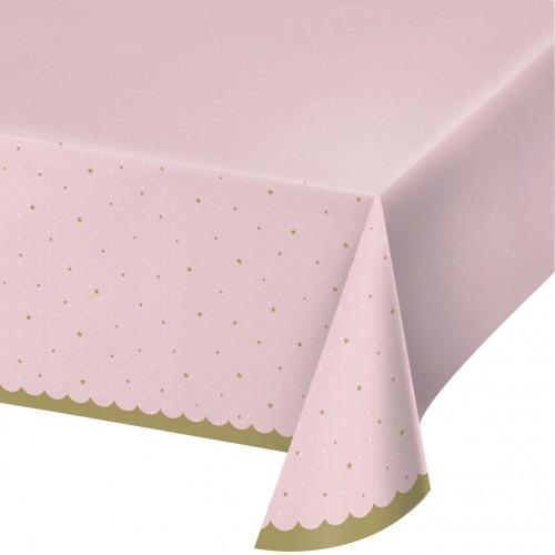 Πλαστικό Τραπεζομάντηλο Ροζ Με Χρυσά Αστέρια