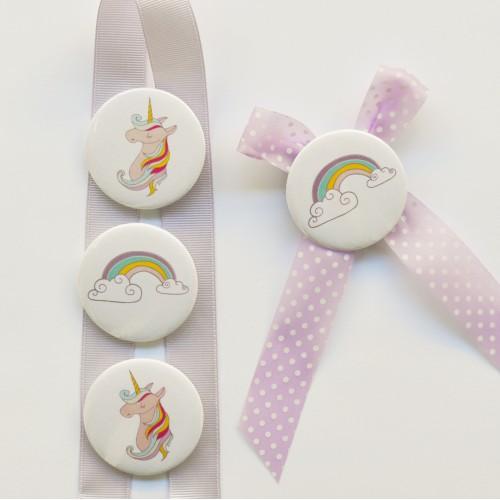 Κονκάρδες Unicorn Party Pins- Μονόκερος & Ουράνιο Τόξο-Για Δώρα Και Party Favors