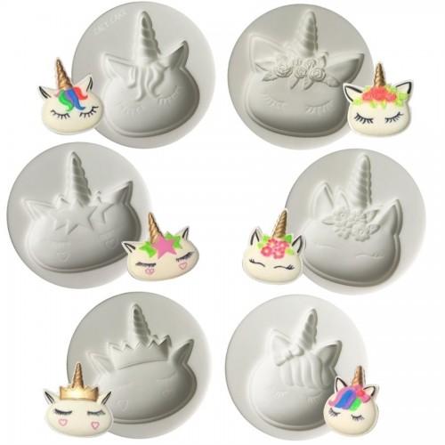 Σετ Καλούπι Σιλικόνης 6 Πρόσωπα Μονόκερου Unicorn Head 6 Cavities Silicone Mold N.Y. Cake
