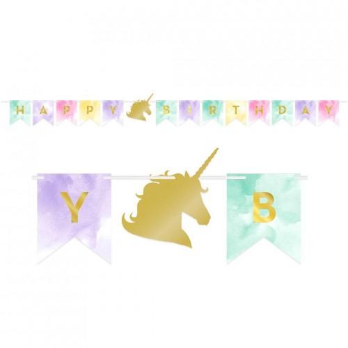 Χάρτινη Γιρλάντα Μονόκερος Happy Birthday Παστέλ Χρυσό