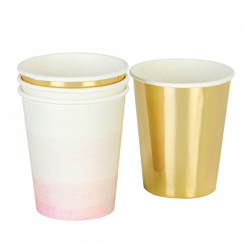 Ombre ροζ & μεταλλικό χρυσό-12 χάρτινα ποτήρια-Talking Tables