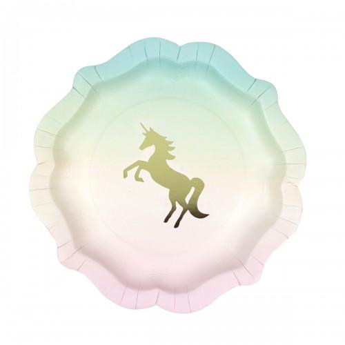 Παστέλ Χάρτινα Πιάτα Μονόκερος-Unicorn Pastel Paper Plates(12-pack)-Talking Tables