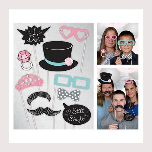 Photo Booth Wedding Props-10 pcs By Unique