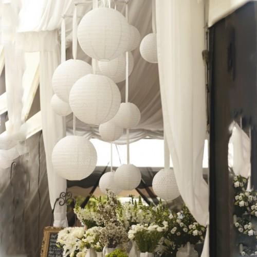 Paper Lantern-Λευκό Στρογγυλό Φαναράκι 41cm