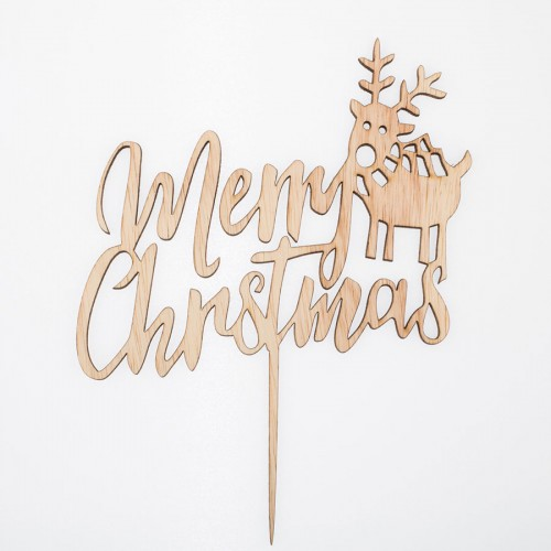 Cake Topper Merry Christmas- Χριστουγεννιάτικο Διακοσμητικό Τούρτας