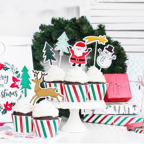 Χάρτινες Θήκες Ριγέ Πράσινο Κόκκινο Cupcake Wrappers Merry Xmas PartyDeco