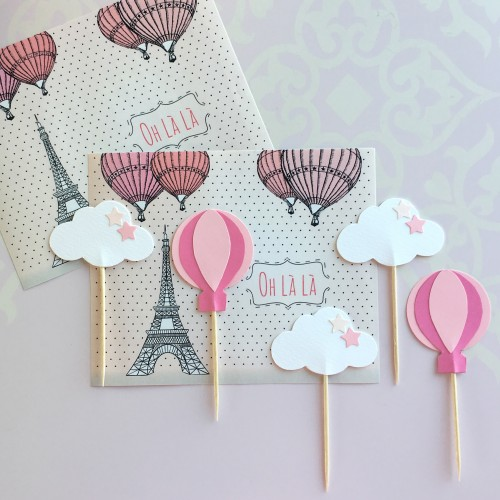 Cupcake Toppers Ροζ Αερόστατα Και Σύννεφα - Hand Made by Ministry Of Art (6pcs)