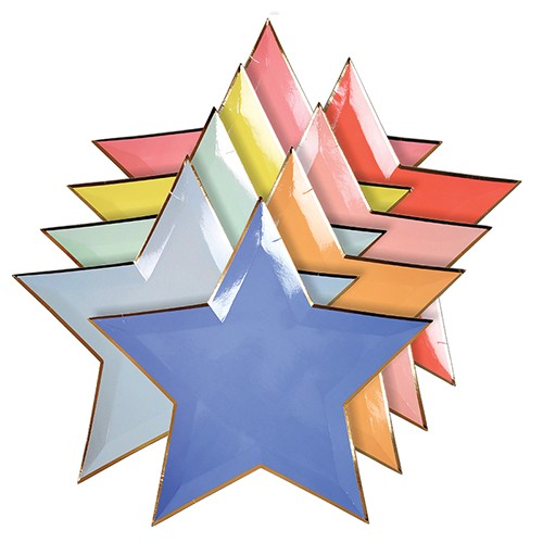 Jazzy Star Plates-Χάρτινα Χρωματιστά Πιάτα Αστέρια(8pcs)-Meri Meri