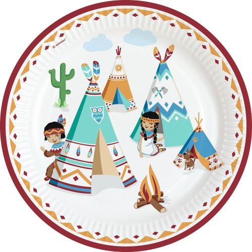 Χάρτινα Πιάτα Φαγητού Ινδιάνοι Tepee & Tomahawk