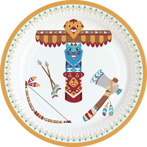 Χάρτινα Πιάτα Γλυκού Ινδιάνοι Tepee & Tomahawk