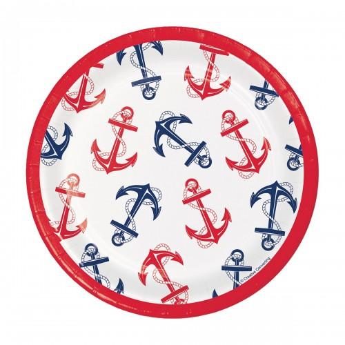 Πιάτα Γλυκού Ναυτικό Θέμα Άγκυρα Nautical Anchor 8pack