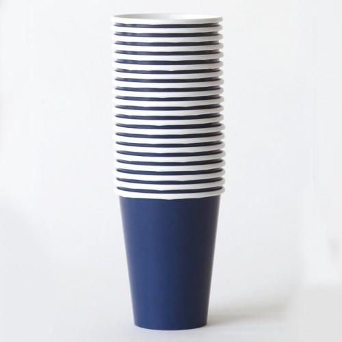 Μονόχρωμα Μπλε Ναυτικό Χάρτινα Ποτήρια 24pcs - Συμφέρουσα Συσκευασία