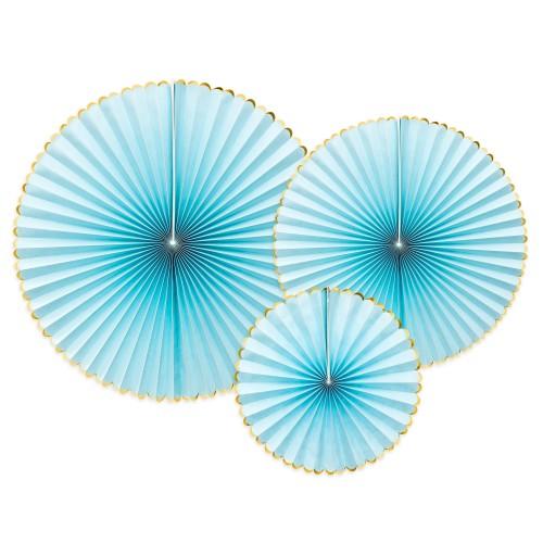 Σετ Διακόσμησης Βεντάλιες Γαλάζιες Με Χρυσό PartyDeco