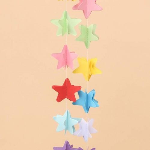 abcJoy Χάρτινη Γιρλάντα Πολύχρωμα Αστέρια 3D