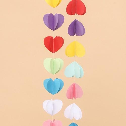 abcJoy Χάρτινη Γιρλάντα Πολύχρωμες Καρδιές 3D