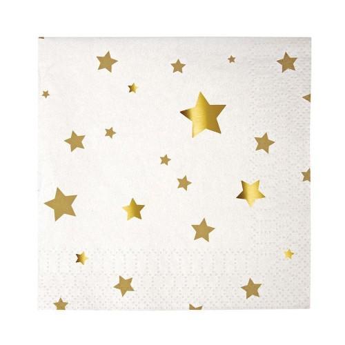 Χαρτοπετσέτες Γλυκού Με Χρυσά Αστέρια